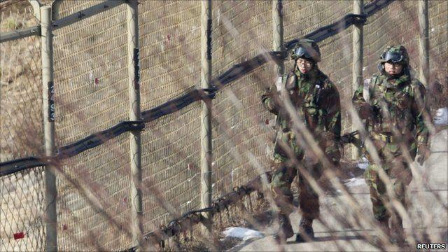 South Korean soldiers on border patrol