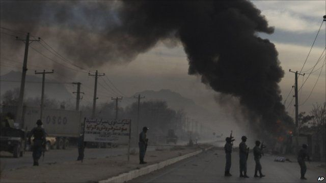 Smoke rises from the scene of the attack in Kabul