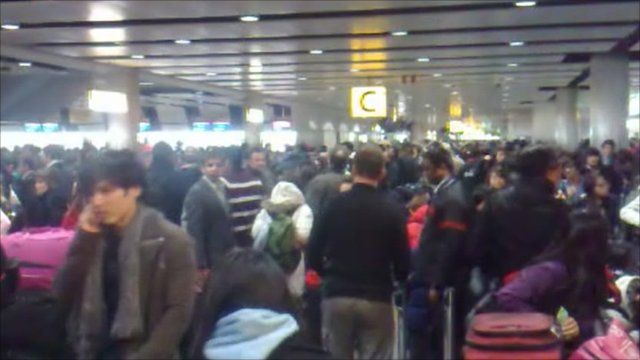 Travellers at Heathrow's Terminal 3