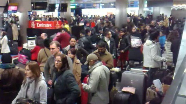 A backlog of passengers at Heathrow Terminal 3 last night