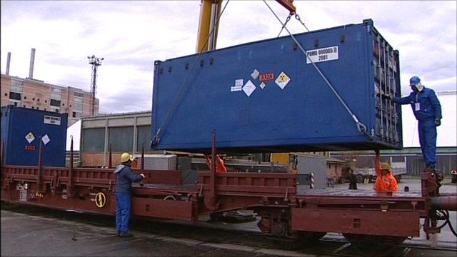 Container full of nuclear fuel rods