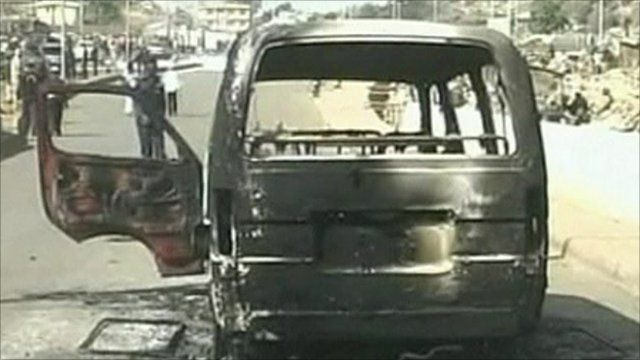 Burned out vehicle in Jos