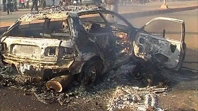 Car fire in Jos, Nigeria