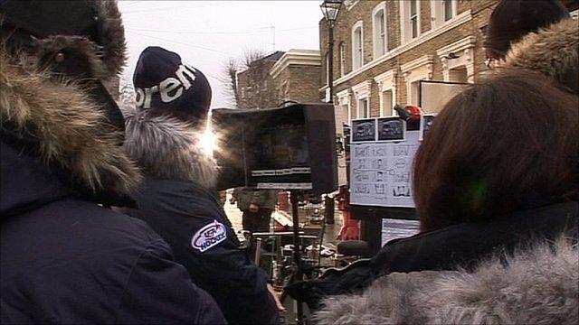 Filming an advert in London