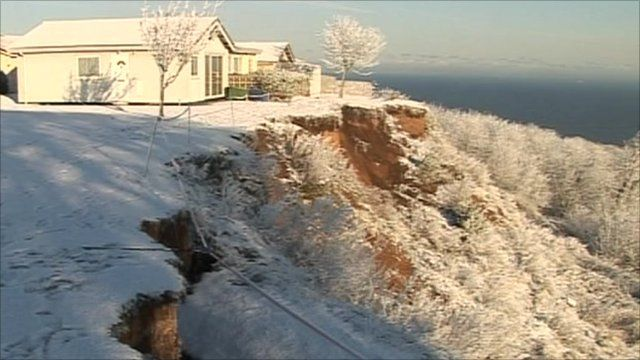 Snow-hit cliff edge