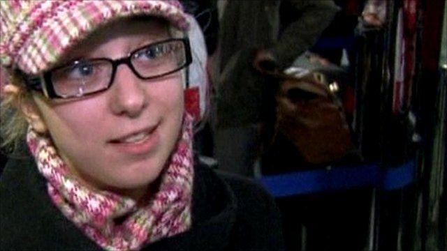 Passenger Kimberly Farge at La Guardia airport, New York