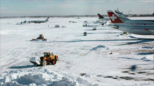 Airport covered in snow