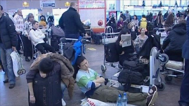 Passengers waiting for rescheduled flights in Russia's main airport