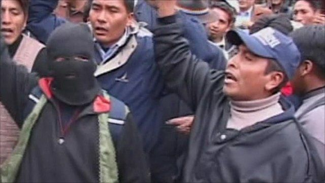 Angry protesters take to the streets in Bolivia