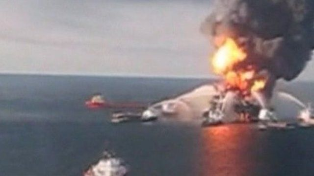 The Deepwater Horizon on fire in 2010