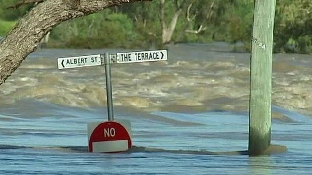 Road sign surrounded by water