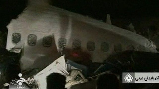 Wreckage from plane crash in northern Iran