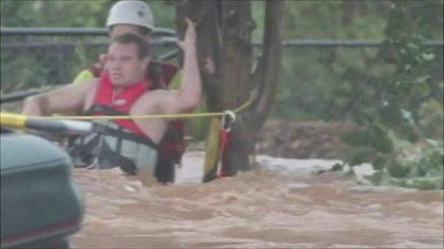 Rescue of man from Australian flood waters