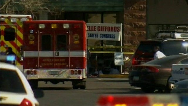 Emergency vehicles at the scene of the shooting in Tucson, Arizona