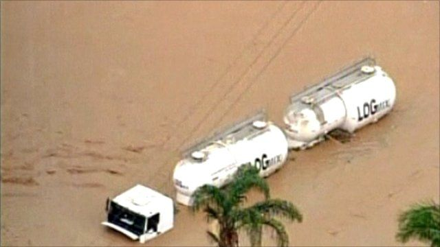 Tanker submerged by floodwater