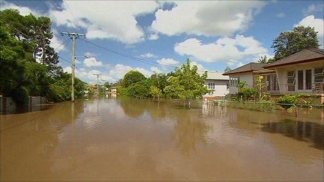 Flooded street in Brisbane
