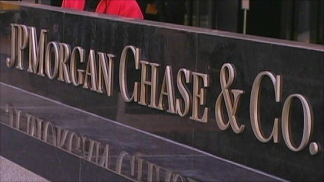 JP Morgan Chase & Co. sign outside their New York offices