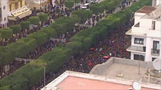 Thousands have gathered outside the Interior Ministry in Tunis