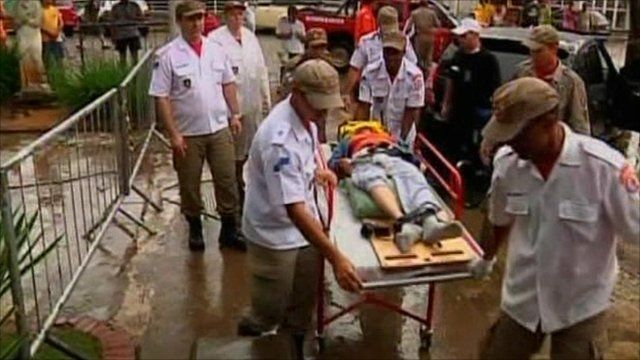Flood victim on stretcher