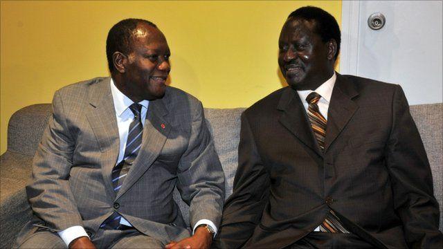 Alassane Ouattara (left) meets with Raila Odinga (right)