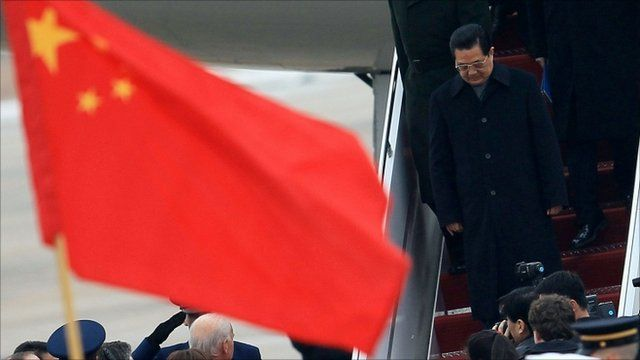 China's President Hu Jintao arrives in the US