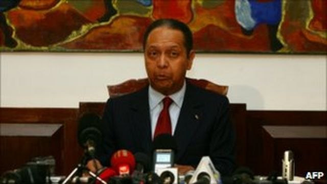 Jean-Claude Duvalier speaking at a news conference on 21 January 2011