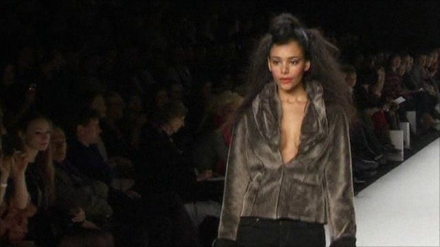 Models work the catwalk at Berlin's fashion week