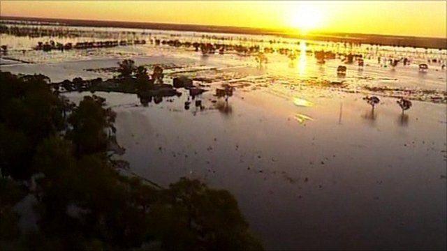 Flood waters in Victoria, Australia
