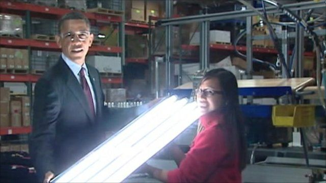 Obama with energy efficient bulb