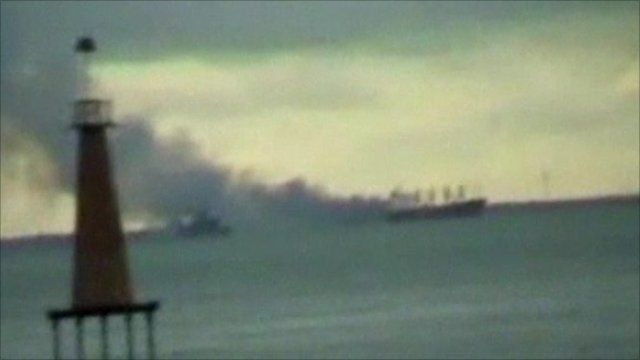 Ferry on fire in Indonesia