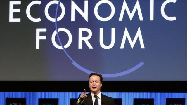 Prime Minister David Cameron speaks during a session at the World Economic Forum