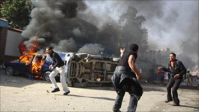 Burning car in Suez