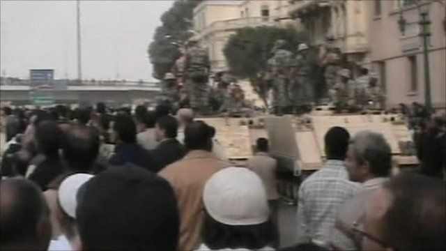Tank on the streets in Egypt