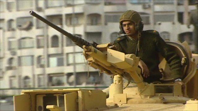 Military tank in Tahrir Square
