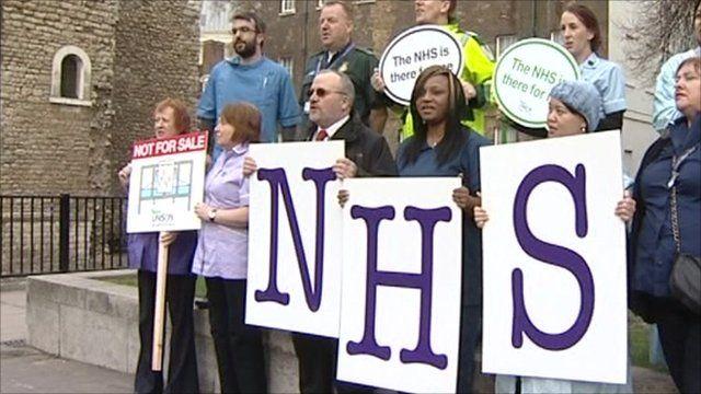 Protestors against NHS reforms