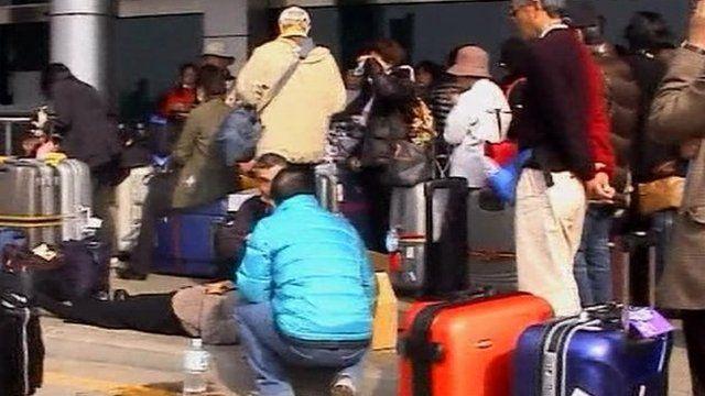 Passengers waiting at Cairo airport