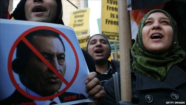 Protesters holding poster of President Mubarak