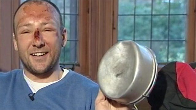 Adam Potter with one of his damaged pans