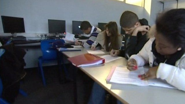 Young people studying at school