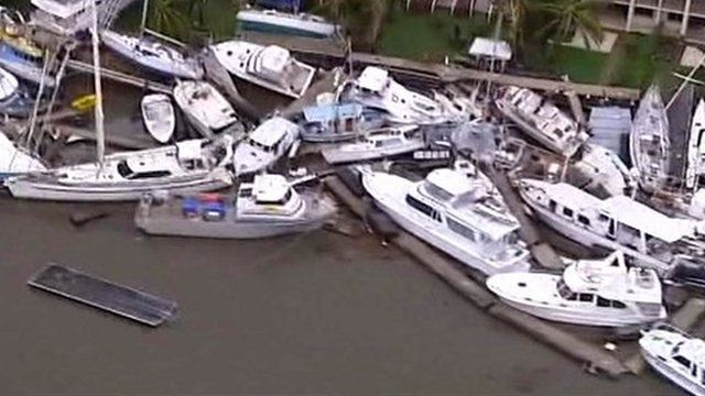 Boats lifted from water by cyclone