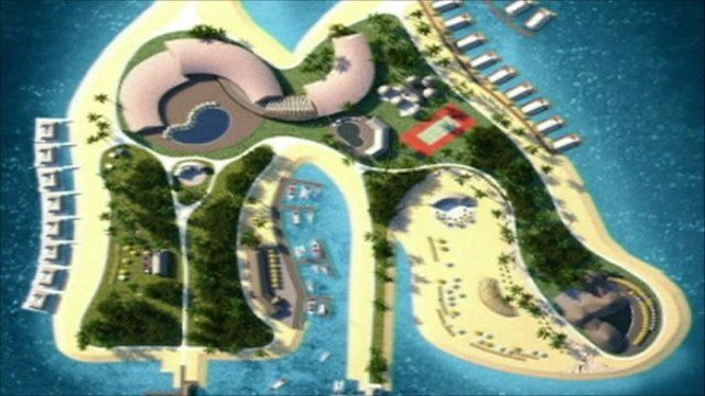 Plan of the island resort in the shape of stilletto shoes
