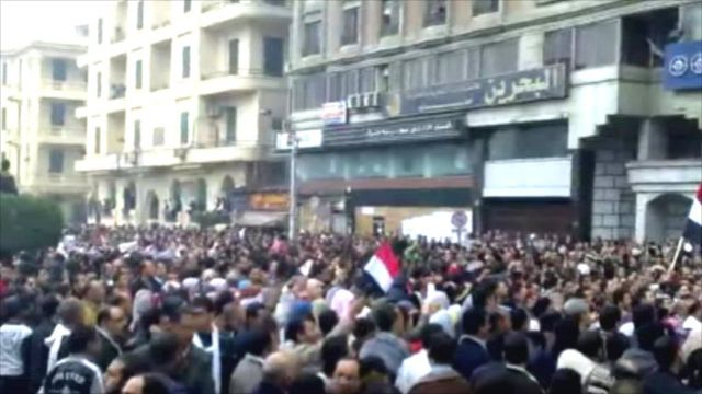 Protesters in Mansoura, northern Egypt