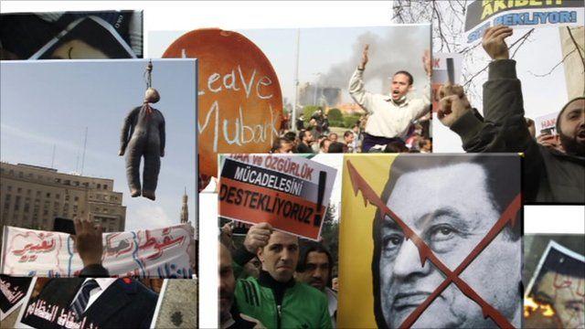 Anti-Mubarak posters