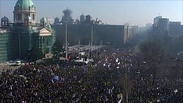 Crowds at an anti-government protest in Belgrade