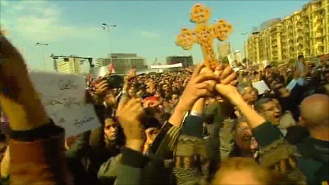 Egyptian Christians take part in the protests