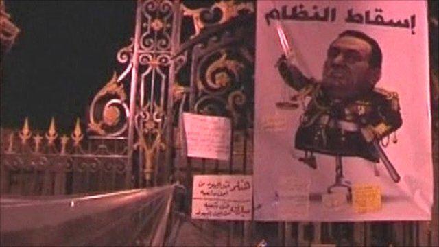 Caricature in Egypt of President Mubarak