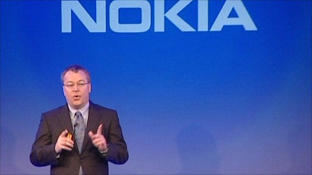 Nokia chief executive Stephen Elop announces the company's alliance with Microsoft