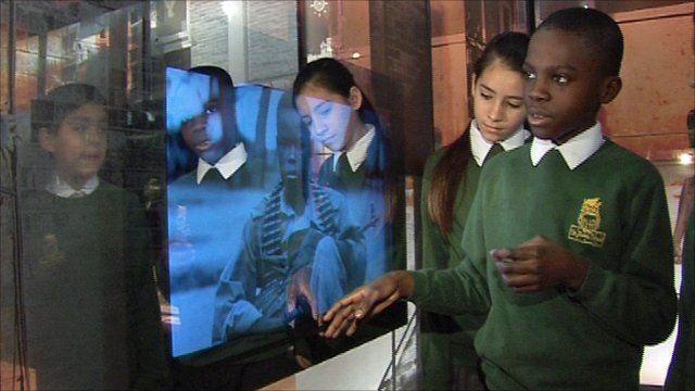Local pupils tour the exhibition