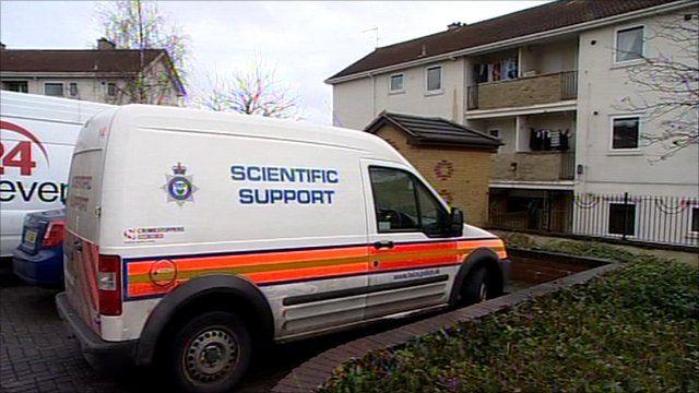 Police van at scene
