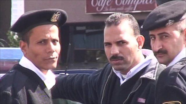 Egyptian police officers demonstrate in Cairo